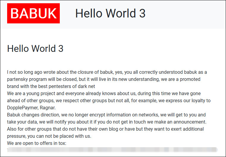 Babuk ransomware moves to data theft extortion