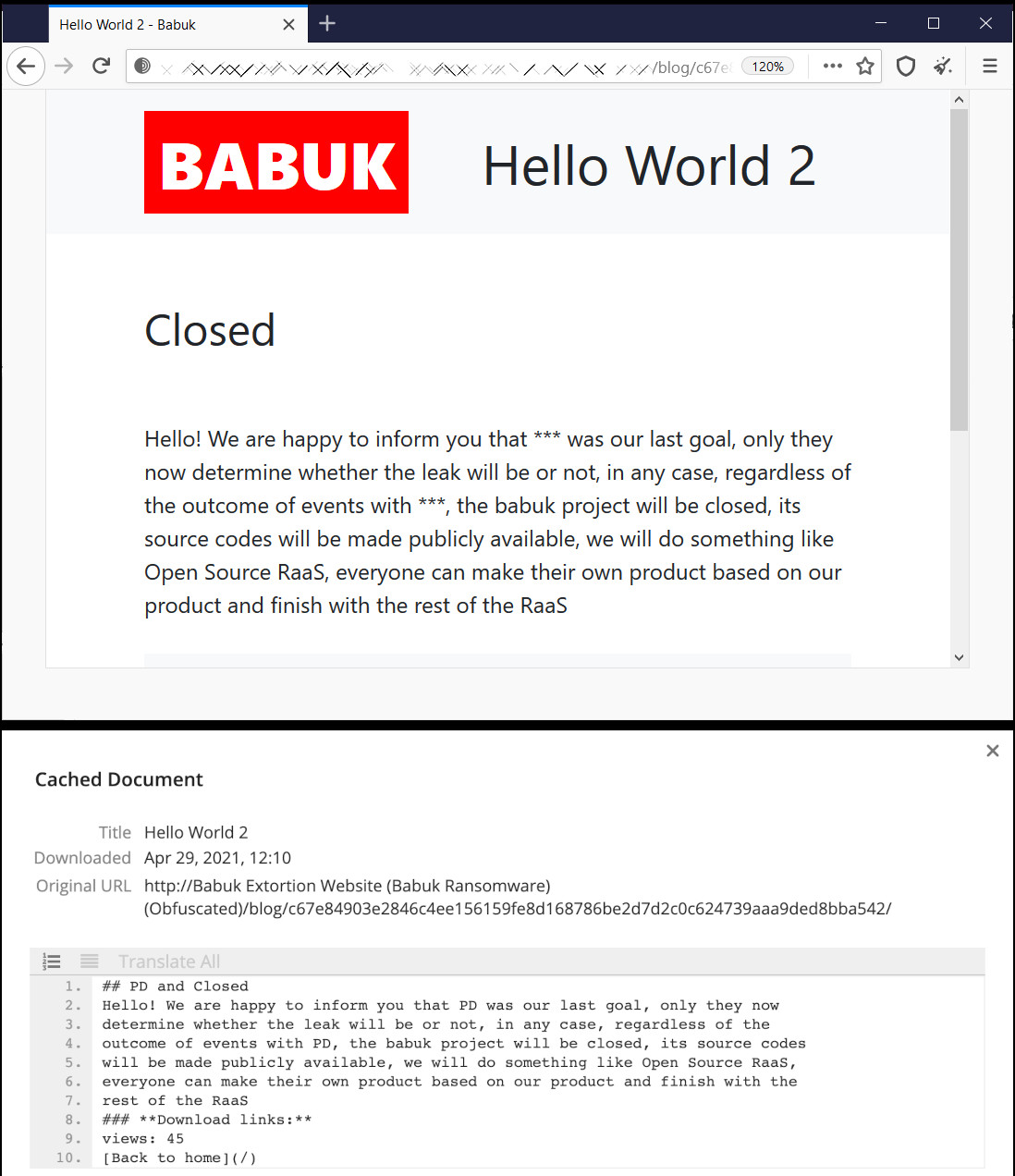Babuk ransomware last words
