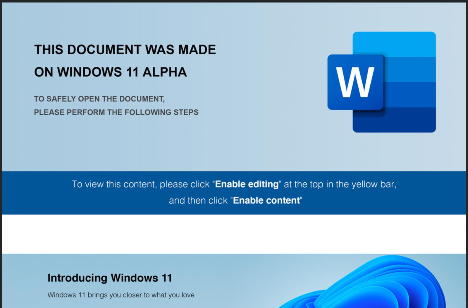 Windows 11-themed maldoc