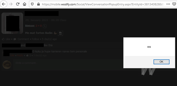 XSS triggered in Wodify fitness management app