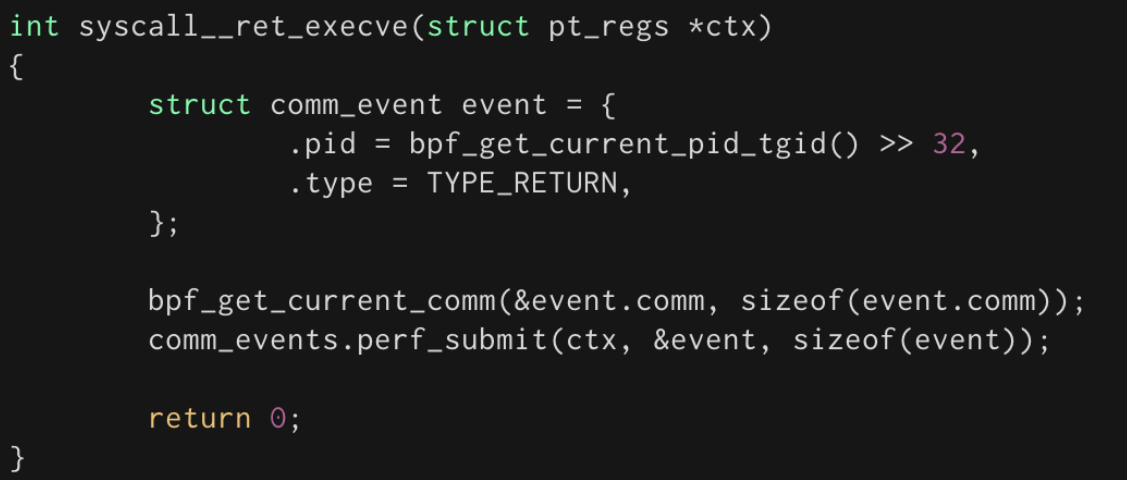 Example eBPF program