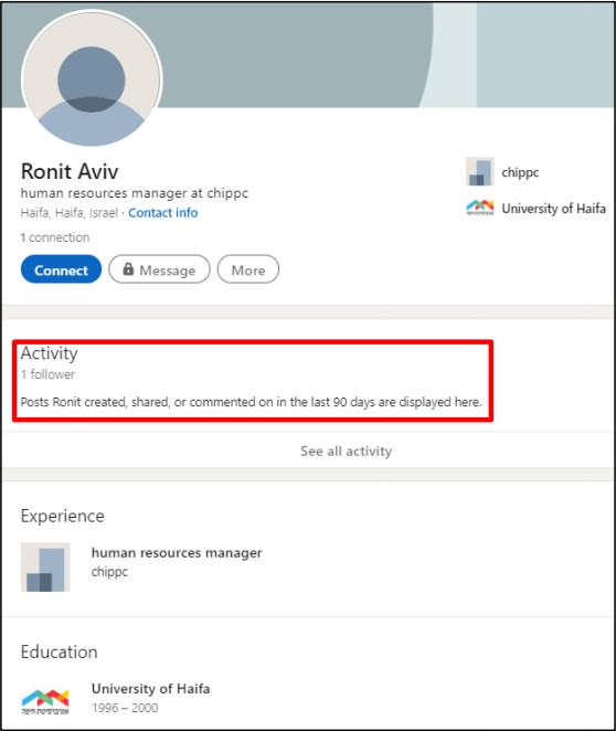 Fake LinkedIn profile for ChipPC HR manager