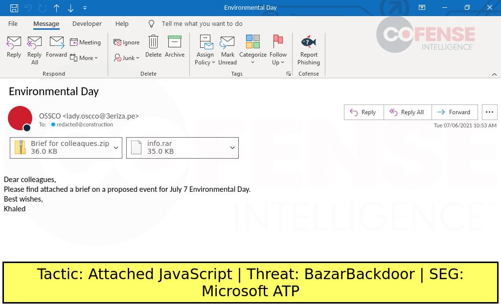 Malspam delivering BazarBackdoor