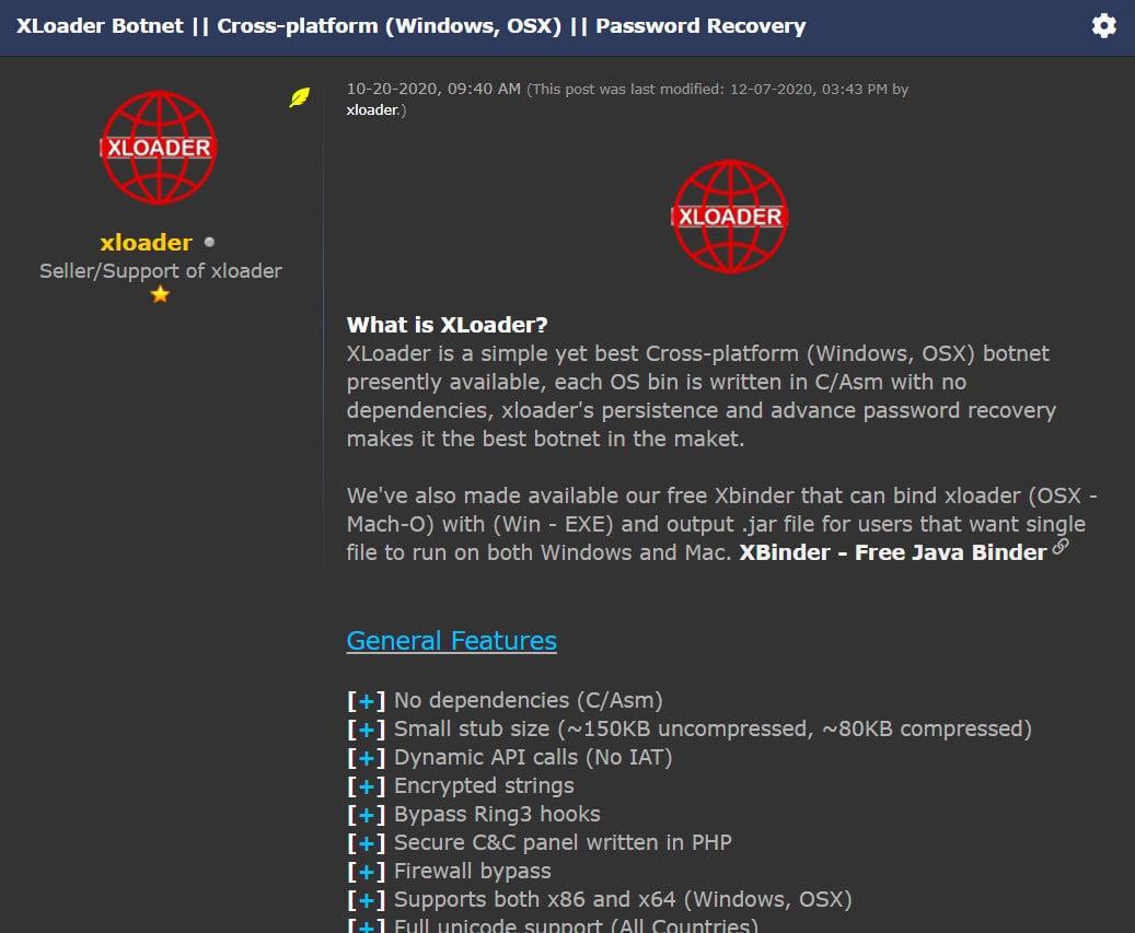 XLoader infostealer advertisement