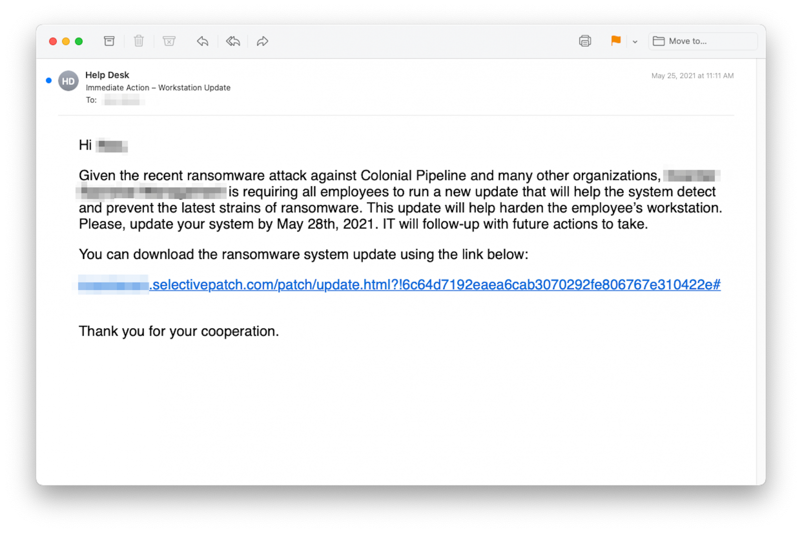 Ransomware attack on Colonial Pipeline used in phishing