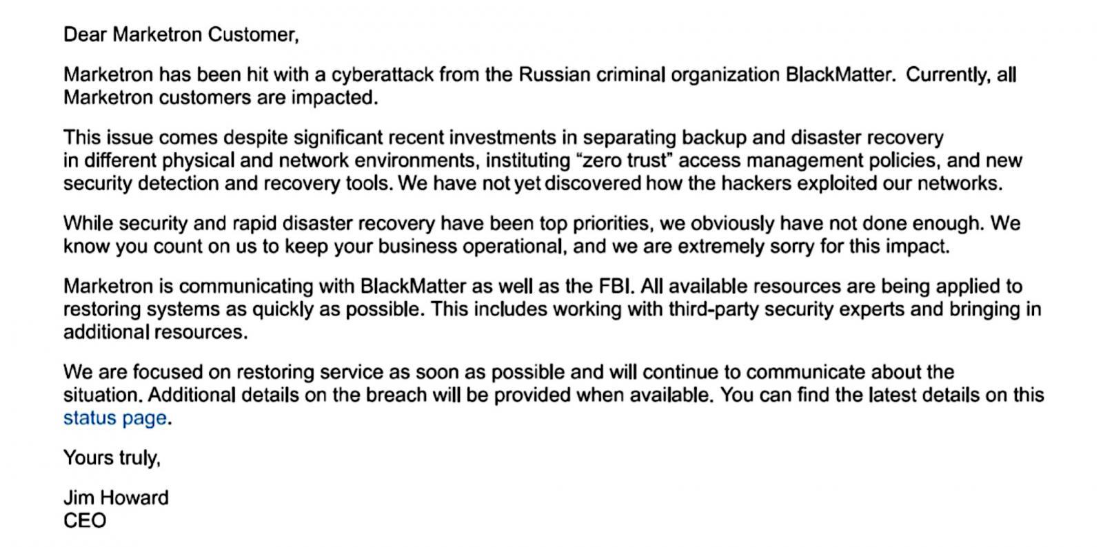 Correo electrónico de Marketron a los clientes que exponen el ataque de ransomware BlackMatter