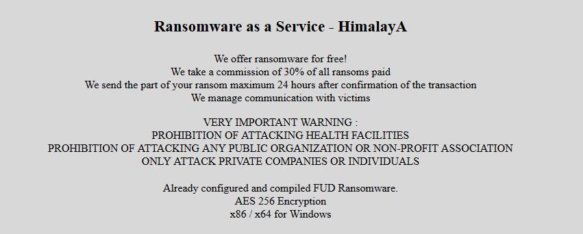 Himalaya ransomware advertises its RaaS operation
