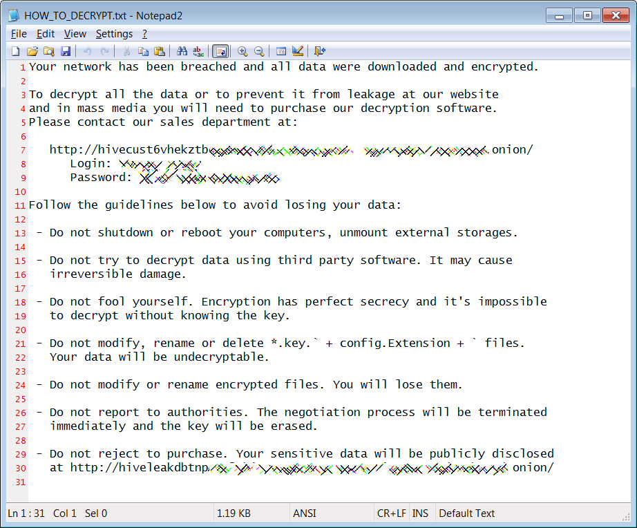 Hive Ransomware - ransom note