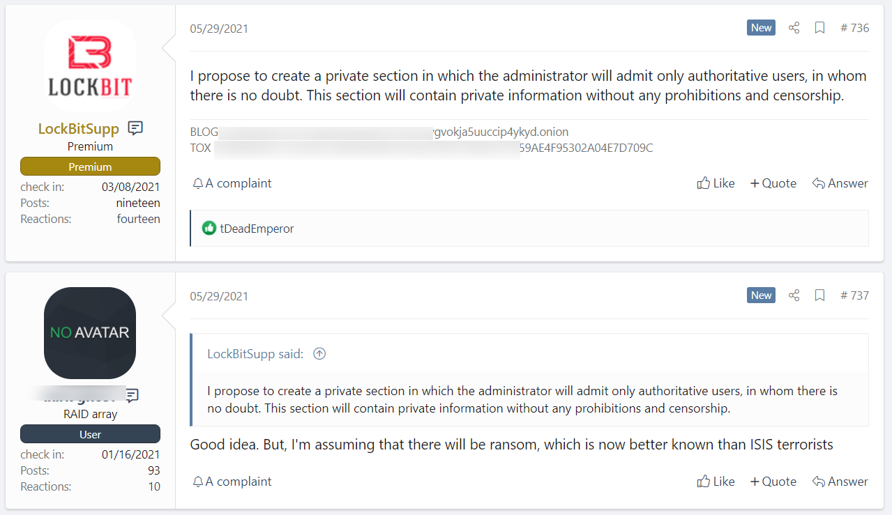 LockBit proposes private section on hacker forum