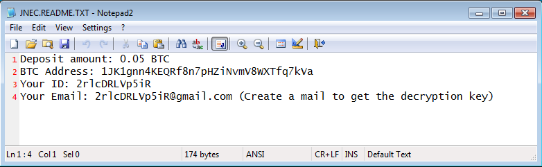 JNEC a Ransomware Spread by WinRAR Ace Exploit
