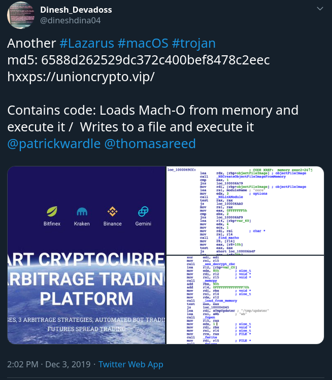 New macOS Threat Served from Cryptocurrency Trading Platform