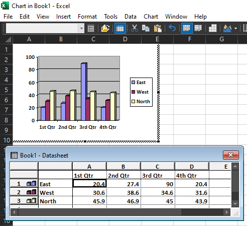 Editor de MSGraph en documento de Microsoft Excel