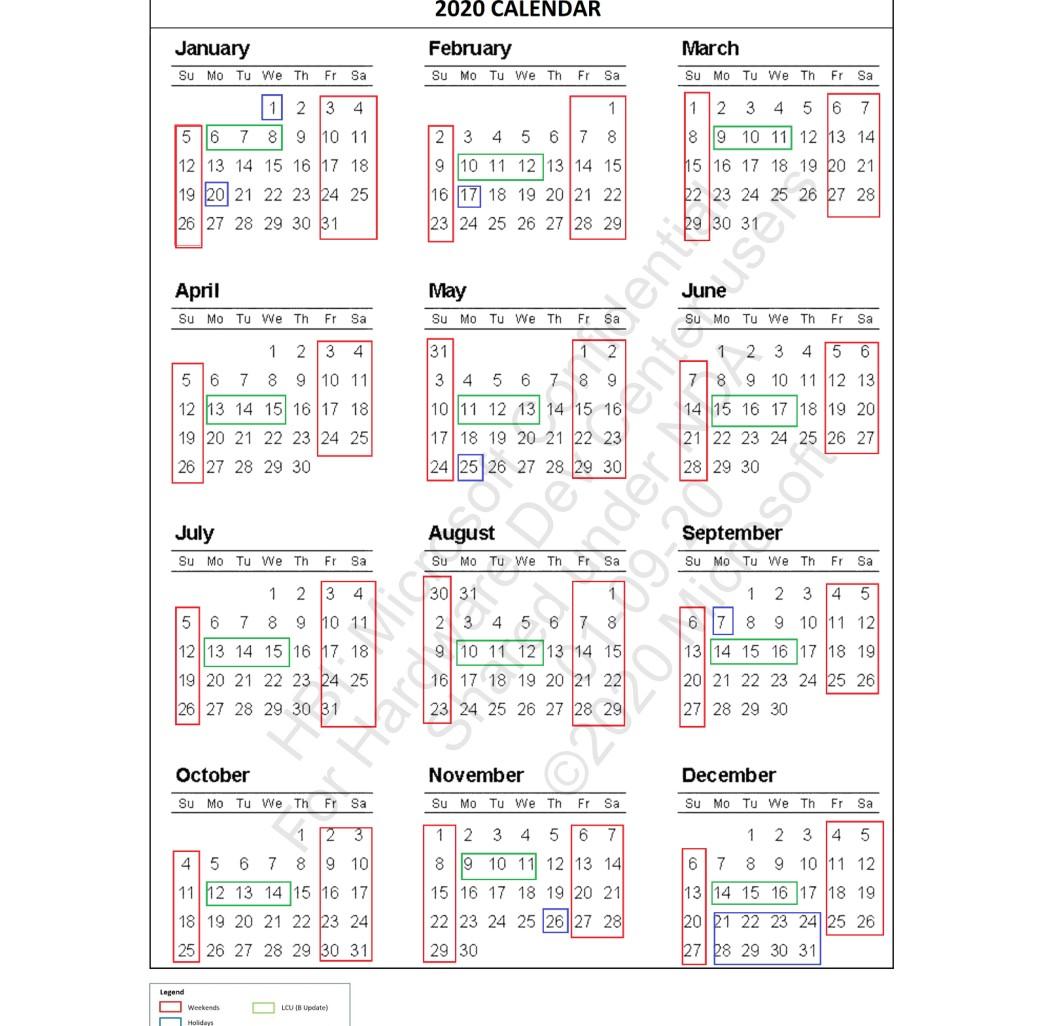 2020 driver deferral calendar