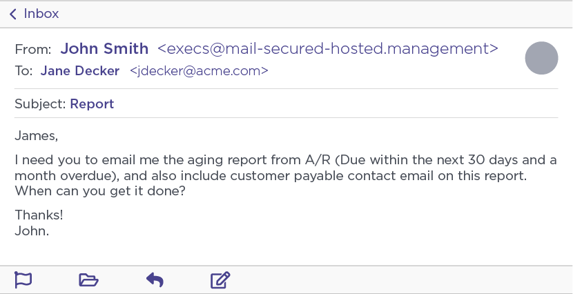 Aging report phishing attack