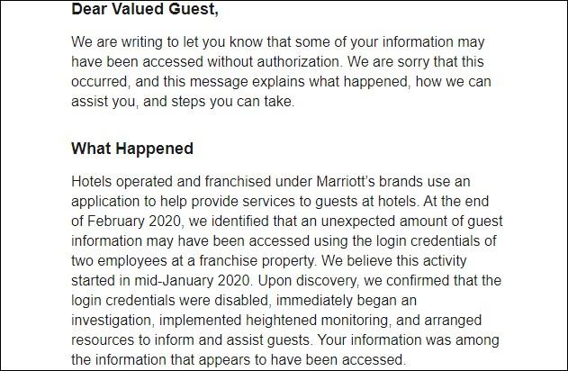 Breach notification letter