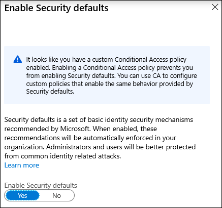 Conditional Access prevents enabling Security defaults
