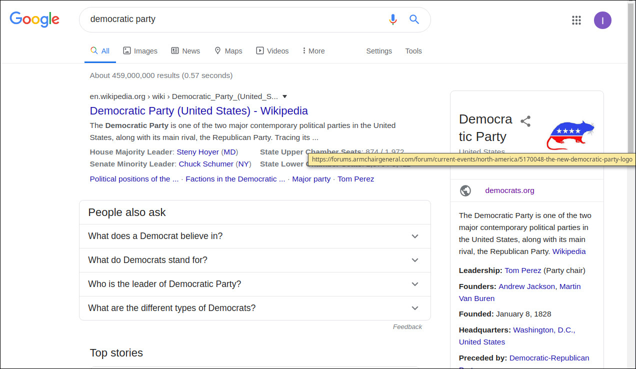 US Democratic Party Symbol Changed to a Rat in Google Search