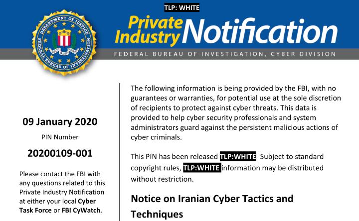 FBI PIN 20200109-001