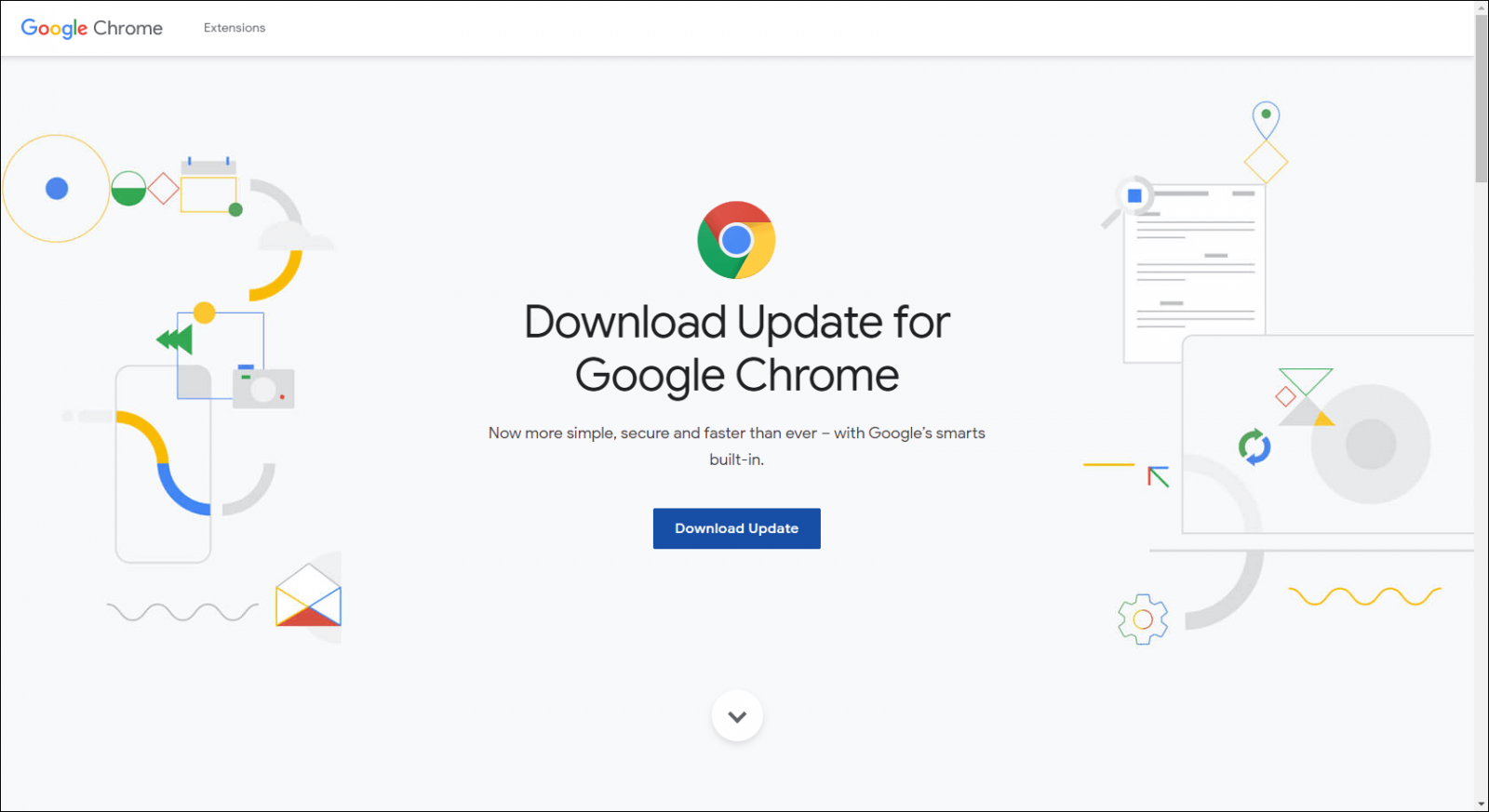 Fake Chrome update page
