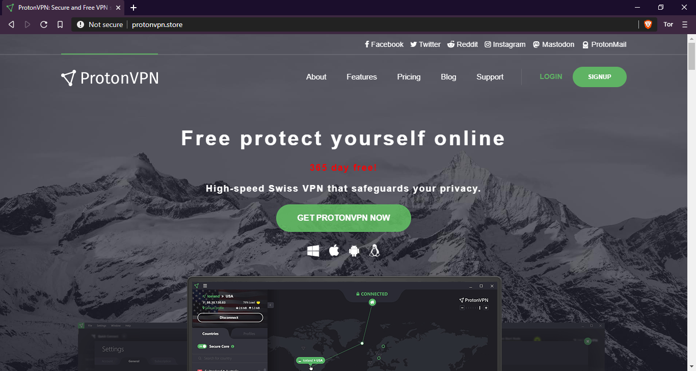 Fake ProtonVPN website