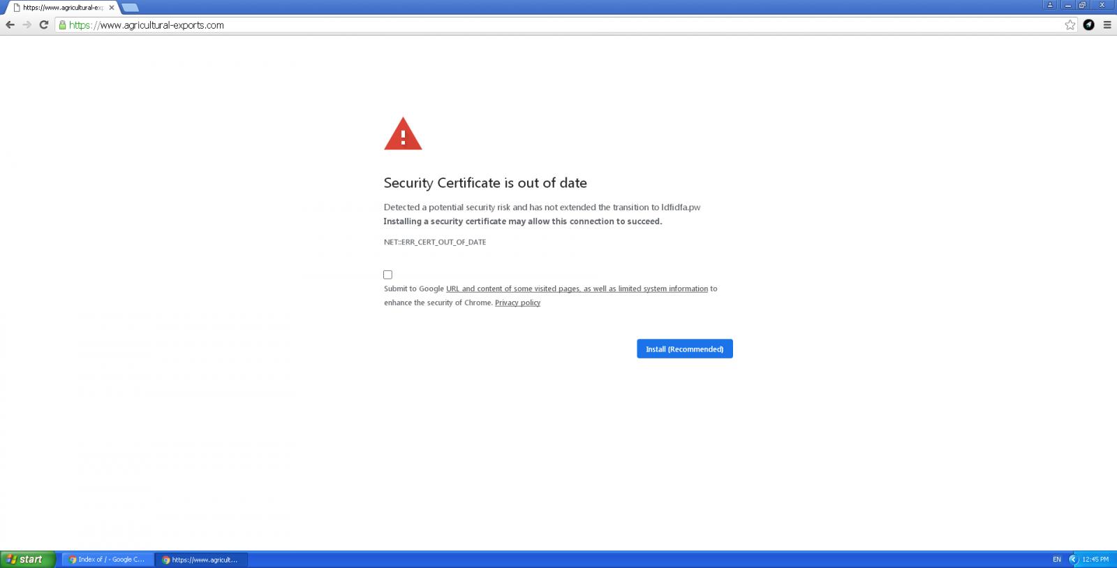 Fake security error