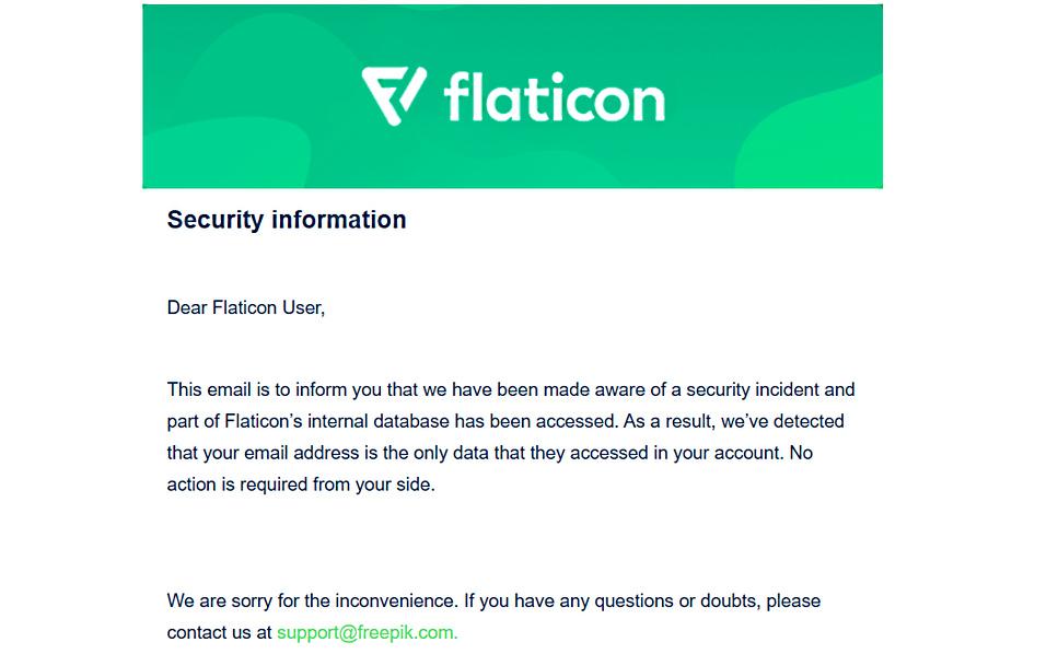 Freepik veri ihlali e-posta bildirimi