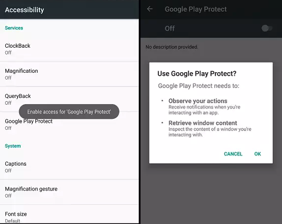 Google Play Protect lure