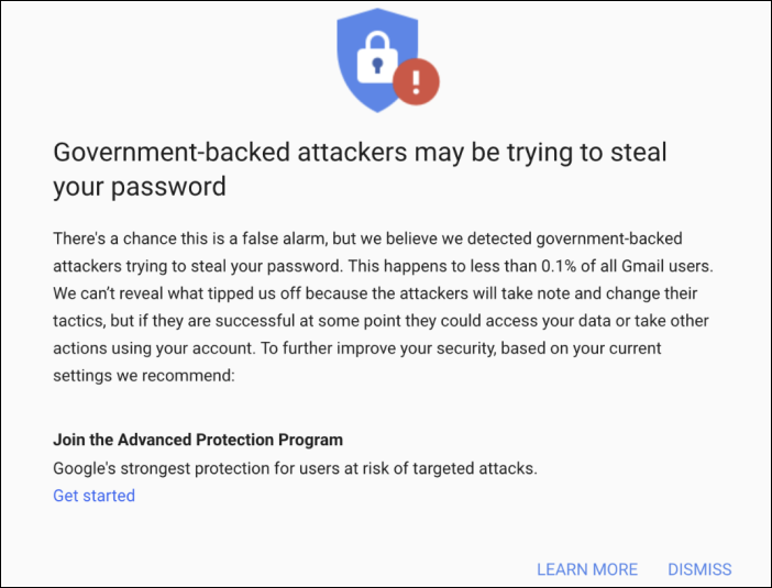 Google govt-backed phishing warning