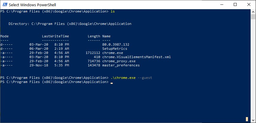 Launching Chrome in Guest Mode from Windows PowerShell