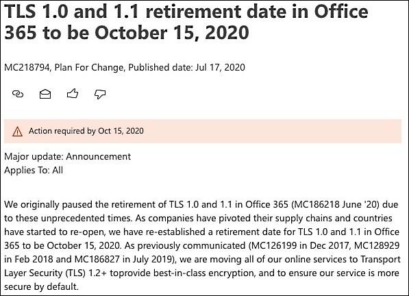 TLS 1.0 and 1.1 retirement