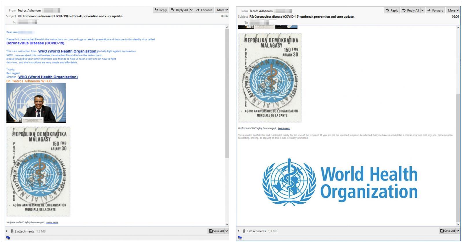 网络钓鱼电子邮件示例