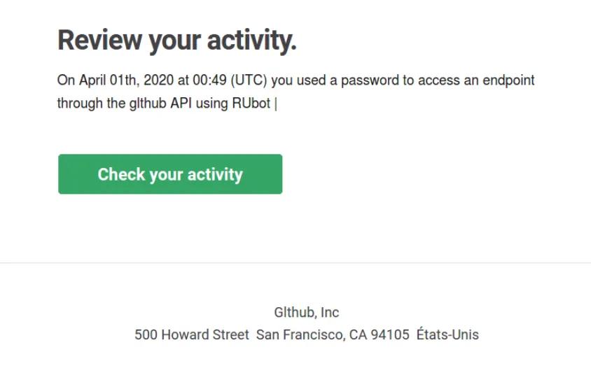 Phishing email sample