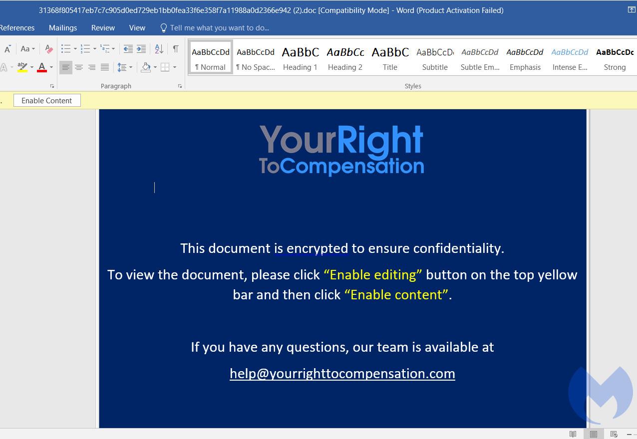 Ejemplo de correo electrónico de phishing