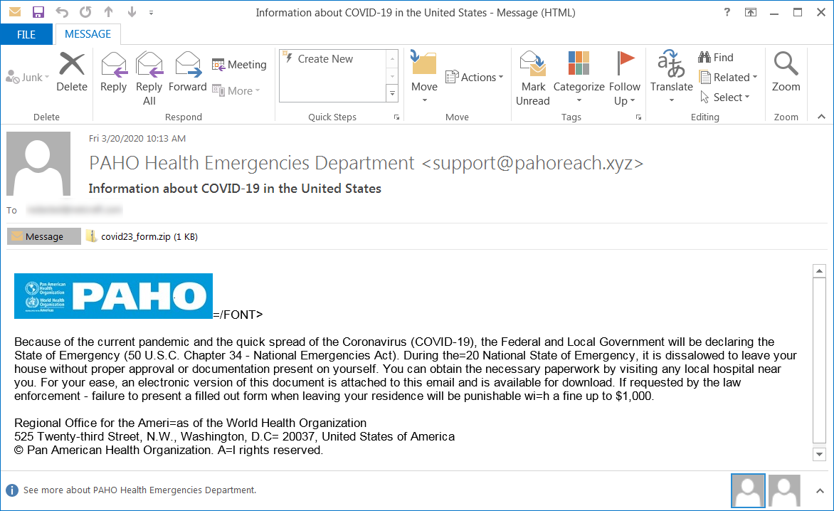 Phising email sample used in these attacks