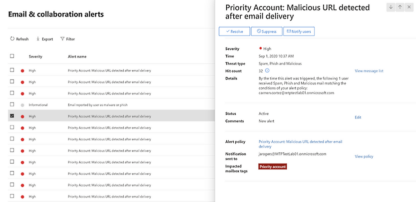 Priority account alert