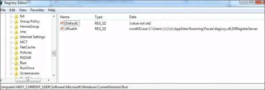 Registry entry created to gain persistence