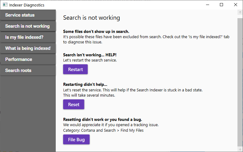 Restart and reset the search service