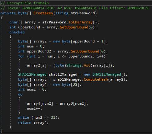 Calcul de la clé de chiffrement Try2Cry