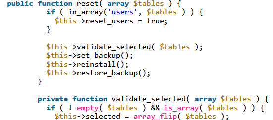 Vulnerable database reset function