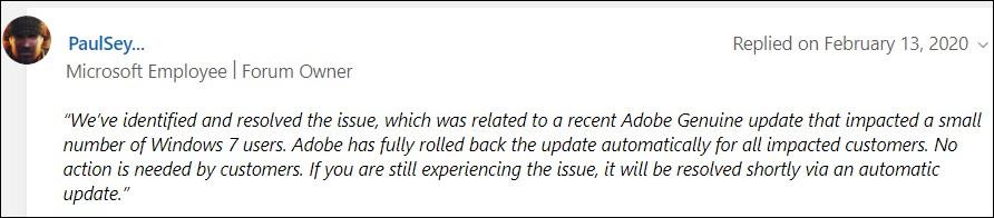 Windows shutdown bug resolution