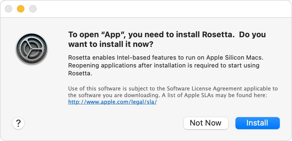 MacOS Big Sur Rosetta install alert