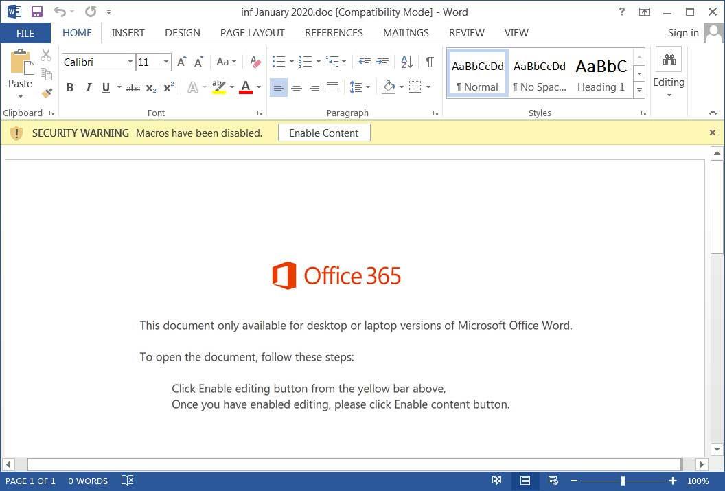 Ejemplo de plantilla de documento malicioso de Emotet