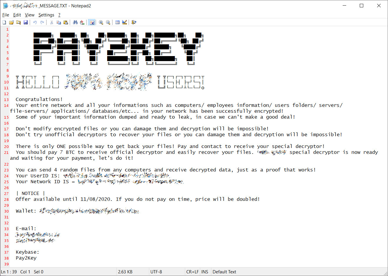 Die pay2key Ransomware Mitteilung