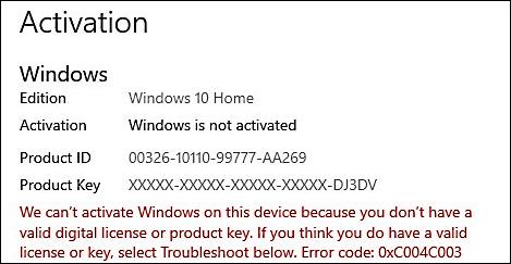 0xC004C003 activation error