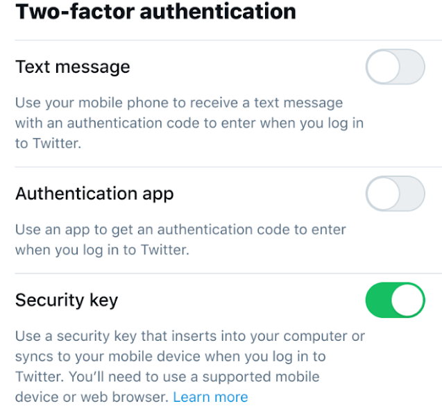 2FA security key only
