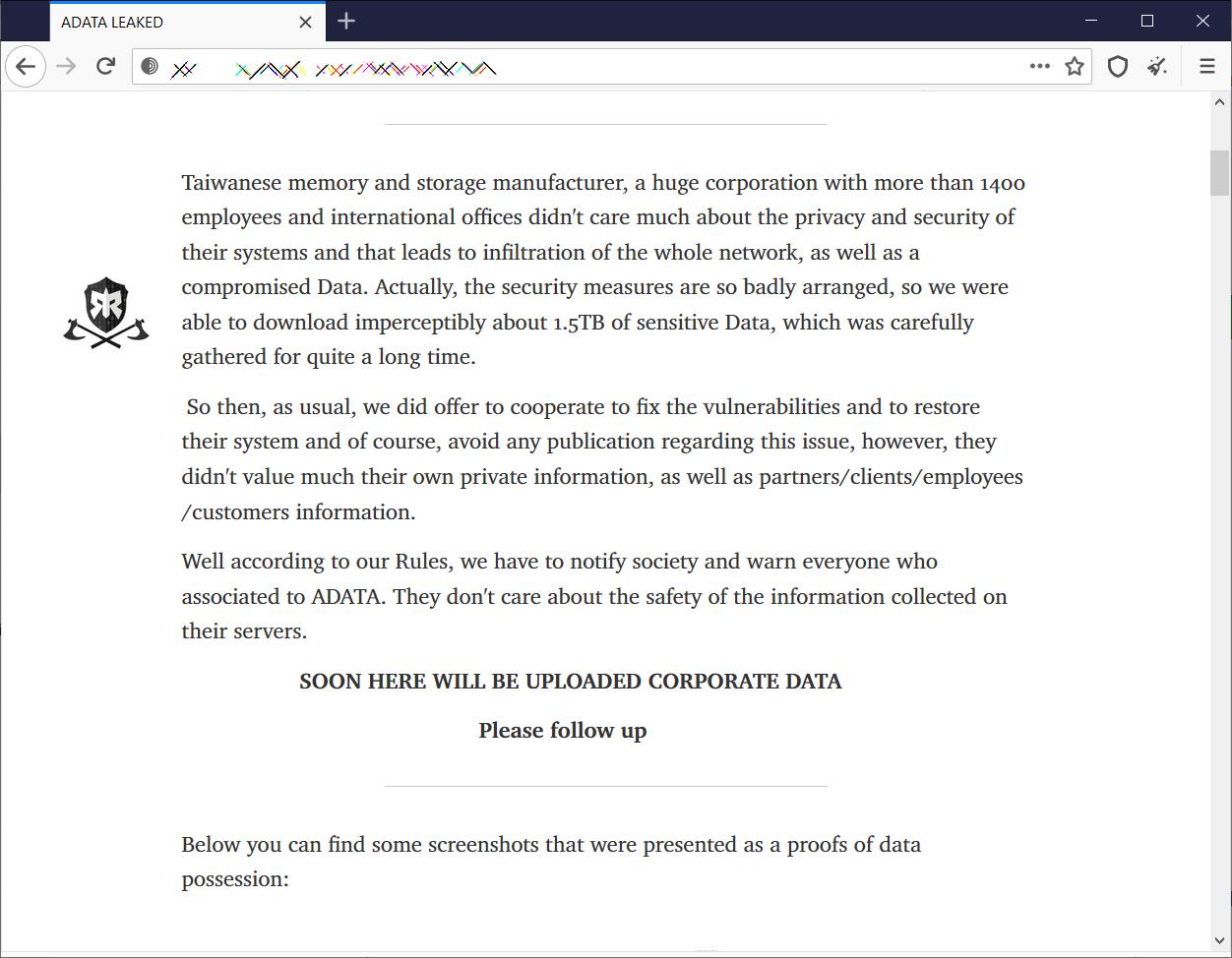 ADATA leak page