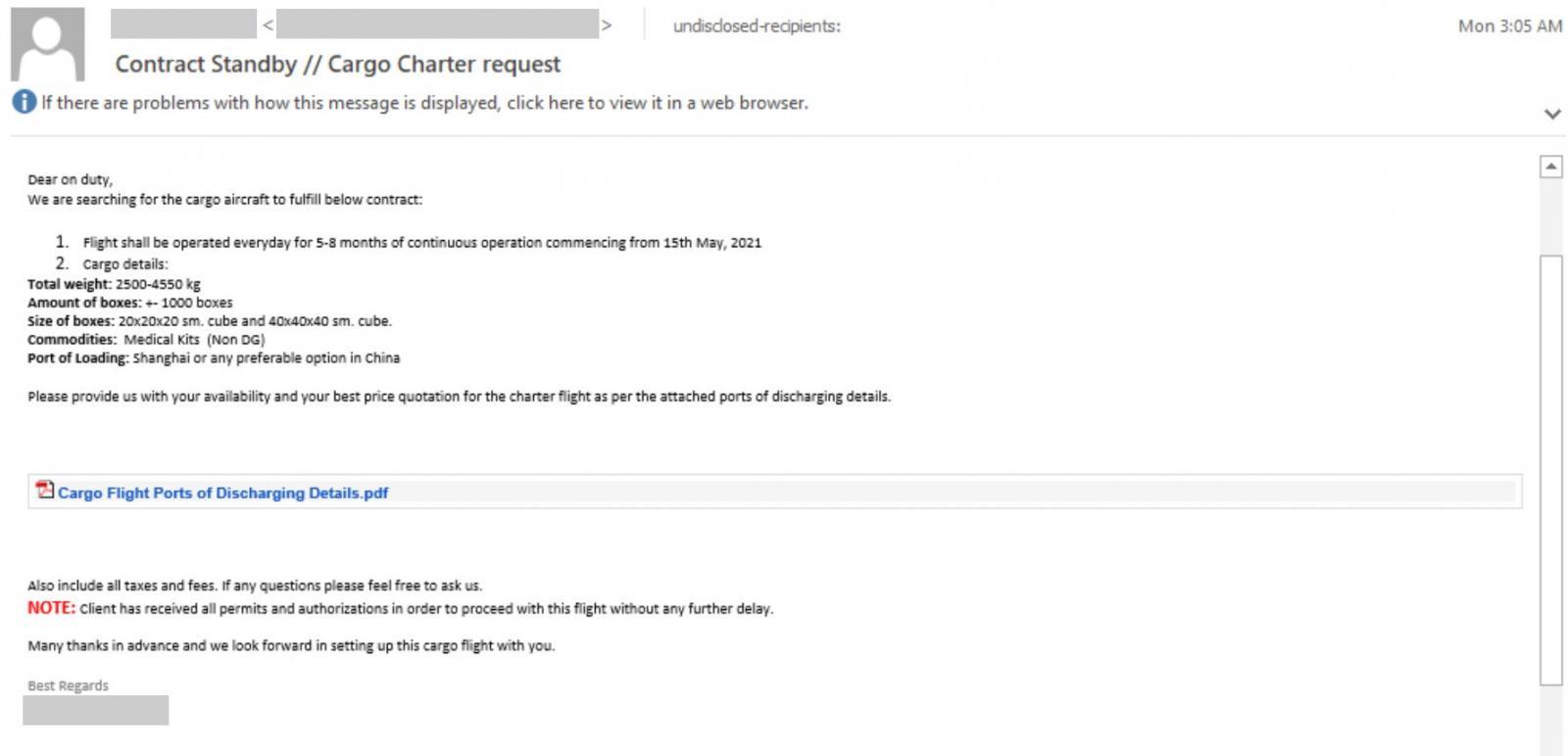 Aviation spear-phishing