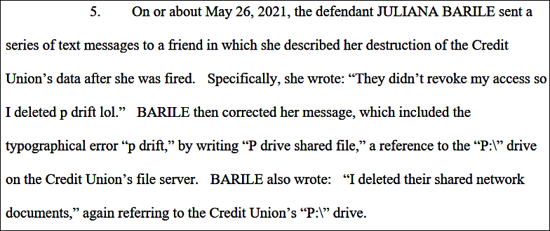 BARILE court documents