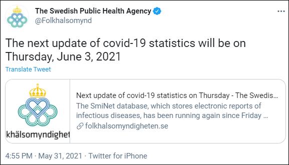 Swedish Public Health Agency COVID-19 updates
